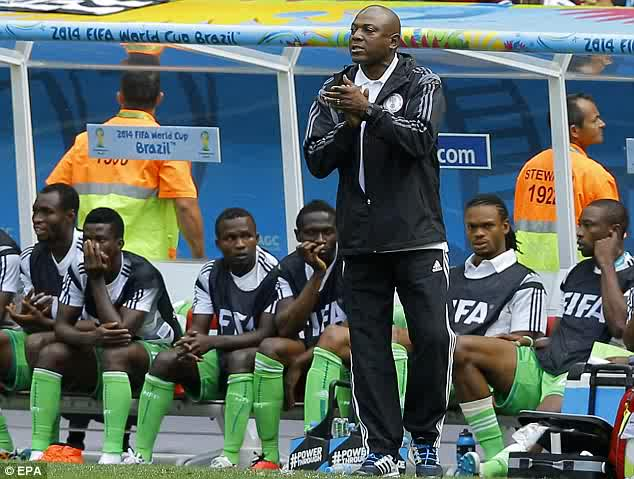 Stephen Keshi in a World Cup match against France in Brazil